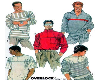 Men Sportswear, Simplicity 8410, Pull Over Top, Collar Shirt, Long / Short Sleeve, Men Fashion, Sewing Pattern, Size 38-40 Chest, UnCUT
