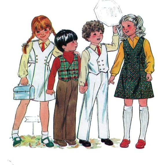 8864 UNCUT Vintage McCalls SEWING Pattern Girls Vest Top Pull on Pants Skort OOP