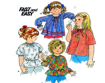 Butterick 5254, Girl, Pleasant Style, Blouse Sewing Pattern, Top, Shirt, Long Sleeve,  Short Sleeve, Elastic Waist, Wrists, Size 5-6-6X