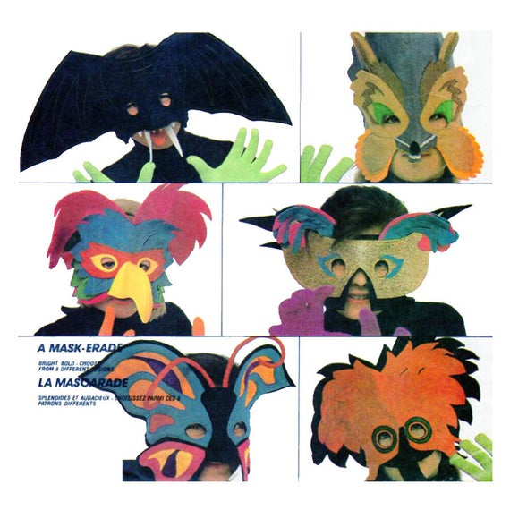 Mardi Gras Maske McCalls 2133 / 782 / 913 Fledermaus Fuchs | Etsy