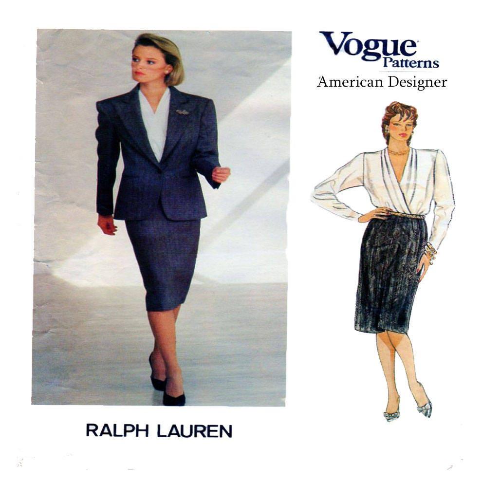 RALPH LAUREN Vogue 1304 Frauen-Designer-Anzug Kreuz Mieder