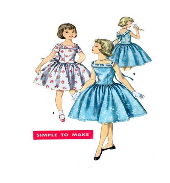 Simplicity 1633 Girls Dress Sewing Pattern 1950 Vintage Etsy