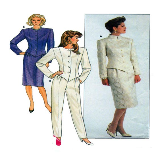 80er Jahre Frauen Anzug Butt 4110 Schnittmuster Mandarin | Etsy