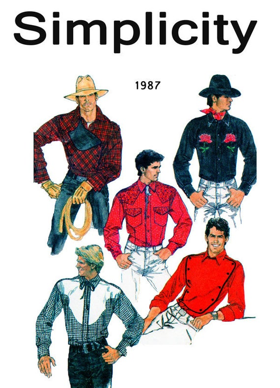 Men Country Western Shirt Simplicity 8473 Sewing Pattern Etsy