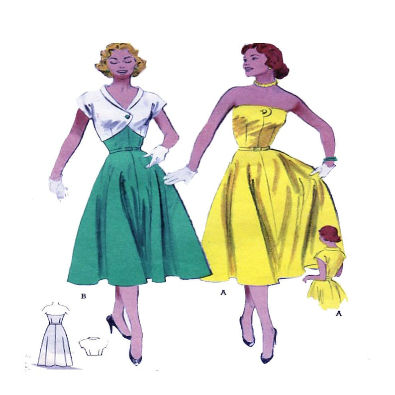 1950s Strapless Gown Butterick 6095 Women Vintage Dress image 0