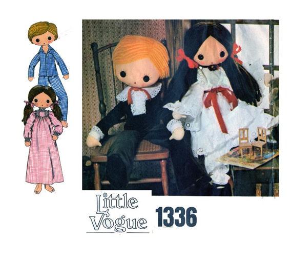 Vogue 1336, Boy Rag Doll, Girl Rag Doll, Sewing Pattern, 32\