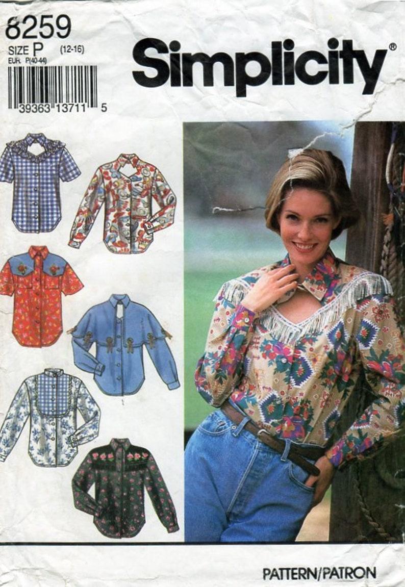 Donne camicia Western Country cartamodello semplicità 8259  2b35c41d549f