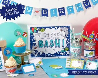 Printable Shark Party Birthday set - digital pdf file