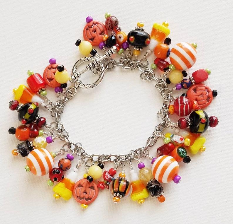 Halloween lamp work beads fall charm bracelet Cha Cha pumpkin Halloween beaded charm bracelet chunky pumpkin charm bracelet