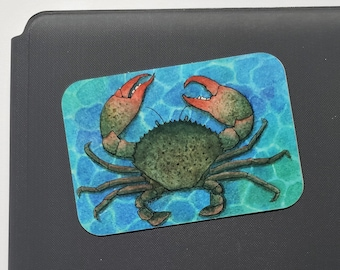 Crab Glossy Vinyl Sticker | Art Print | Watercolor Painting | Ocean Life Nature Wildlife Artwork | 3x2.1 in | Stationary | Office Decor