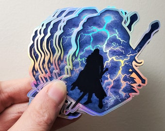 Yasha Critical Role Holographic Sticker | Art Print | Watercolor Painting | Critter CR Fanart | D&D Art | 2.7x3.0 inch Glossy | Stationary
