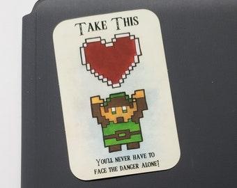 Legend of Zelda 8-Bit Link Vinyl Sticker | Art Print | Watercolor Painting | LoZ Fanart Nerdy Artwork | 2x3 in | Stationary | Office Decor