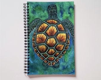 Sea Turtle Art Print Spiral Notebook | Ruled Line Journal | Original Watercolor Painting | Nature Artwork| Sketchbook | Planner | 6x8in