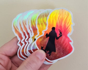 Caleb Widogast Critical Role Holographic Sticker | Art Print | Watercolor Painting | Critter CR Fanart | D&D | 2.1x3inch Glossy | Stationary