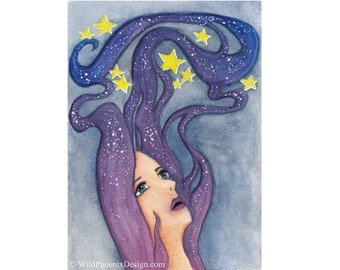 Galaxy Dreamer Art PRINT - Original Watercolor Painting - Giclée - Home Decor, Wall Art