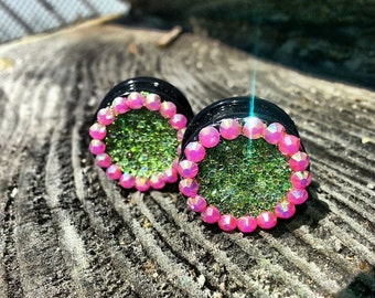 3/4 Size Silicone Plug Earrings With Green Glitter & Bright Pink Rhinestones