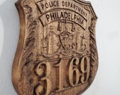 3D V CARVED - Personalized Philadelphia Pennsylvania Police Badge V Carved Wood Sign