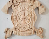 Personalized Fire Dept fighter Cross  Axes  V Carved Wooden Sign