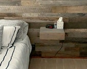 1 set(2) Handmade Floating Shelves with Drawer - Made from reclaimed wood