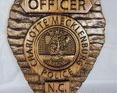 Charlotte Mecklenburg North Carolina Police Badge  - Personalized Badge 3D V Carved Wood Sign