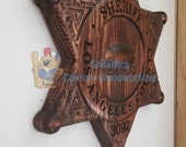 Personalized Los Angeles Sheriff Badge 3D V Carved Wood Sign