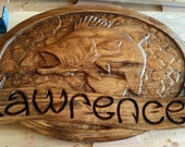 Name sign Bass Jumping - V Carved wooden sign