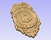 3D V CARVED - Personalized Rhode Island State Police Badge V Carved Wood Sign