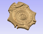 NEW design!! - Custom Maine State Police Corporal Badge  - Personalized Badge 3D V Carved Wood Sign