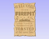 Custom Personalized Welcome to Our Fire Pit Marshmallow Sign V Carved Wood Sign