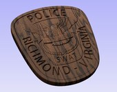 Richmond Police Officer SWAT Patch - 3D V CARVED - Personalized Police Patch V Carved Wood Sign