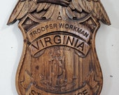 Virginia State Trooper Badge - 3D V CARVED - Personalized Police Badge V Carved Wood Sign