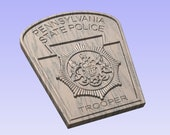 Pennsylvania State police Trooper Patch - 3D V CARVED - Personalized Police Patch V Carved Wood Sign