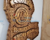 3D V CARVED - Personalized Louisiana State Police Trooper Sergeant Badge V Carved Wood Sign