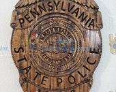 NEW Design !!!  3D V CARVED - Personalized Pennsylvania State Trooper Police Badge V Carved Wood Sign