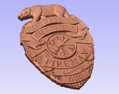 Personalized Los Angeles County Fire Dept Badge 3D V Carved Wood Sign