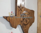 3D V CARVED - Personalized #Texas Highway Patrol State #Trooper #Police Badge inside State of Texas V Carved Wood Sign