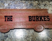 Personalized Fire Truck Name Sign and Established Year - V Carved wooden sign