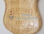 3D V CARVED - Personalized Delaware State Trooper Police Badge V Carved Wood Sign