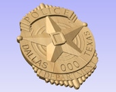 NEW Custom Dallas Police Officer Badge  - Personalized Badge 3D V Carved Wood Sign