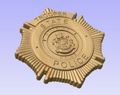 NEW design!! - Custom Maine State Police Trooper Badge  - Personalized Badge 3D V Carved Wood Sign