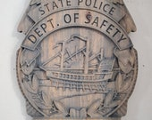 3D V CARVED - Personalized New Hampshire State Trooper Police Badge V Carved Wood Sign