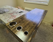Custom Reclaimed Wood Handmade Salon Station Floating Shelf with single drawer and tool holders