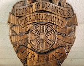 LA County - Los Angeles County Personalized Fire Dept Badge 3D V Carved Wood Sign