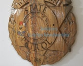 Washington State Patrol Police Officer Badge - 3D V CARVED - Personalized Police Badge V Carved Wood Sign