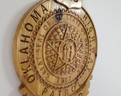 NEW Improved Design - Custom Oklahoma Highway Patrol Trooper Police Badge  - Personalized Badge 3D V Carved Wood Sign