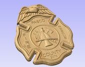 Personalized Fire Dept Maltese Cross With Eagle 3D V Carved Wood Sign