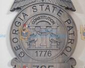 3D V CARVED - Personalized Georgia State Patrol Trooper Police Badge V Carved Wood Sign