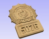 Custom NYPD Detective Badge 3D V Carved Wood Sign