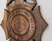 Custom Personalized #Tennessee State #Police #Highway Patrol Badge  - Personalized Badge 3D V Carved Wood Sign