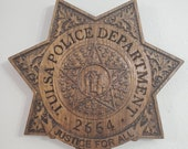 3D V CARVED - Personalized Tulsa Oklahoma Police Badge V Carved Wood Sign